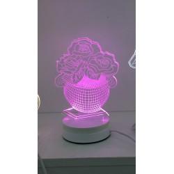 LAMPARA NOCTURNA FORMA JARRA DE FLOR 3D 5W