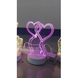 LAMPARA NOCTURNA FORMA CORAZON 3D 5W