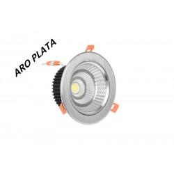 Foco Downlight LED Aro Plata 7w 6000k 4000k 3000k Fría Neutra y Cálida
